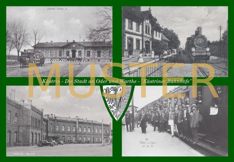 Maxi-Ansichtskarte Küstrin - Küstriner Bahnhöfe