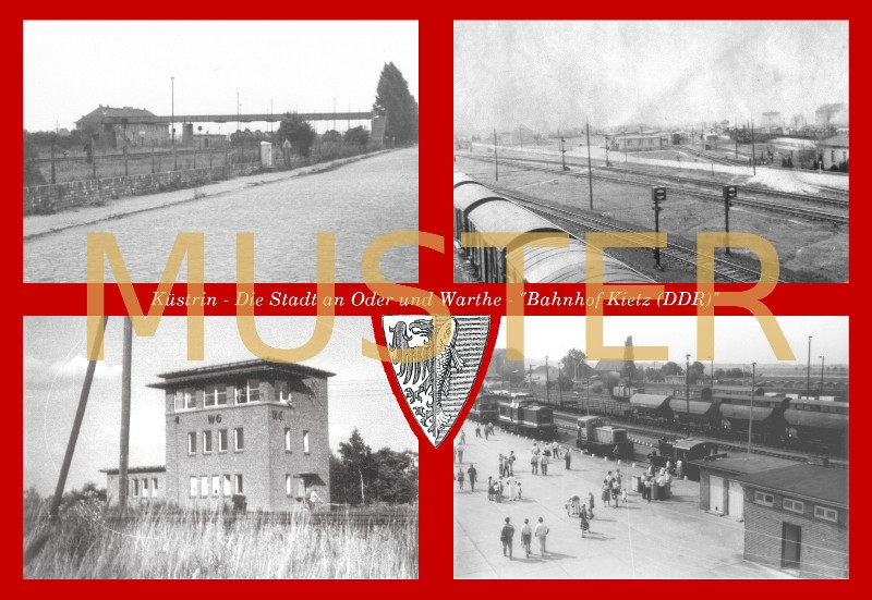 Maxi-Ansichtskarte Küstrin - Bahnhof Kietz DDR